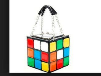 bag cube rainbow handbag