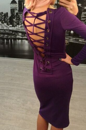 dress purple criss cross long sleeves strappy midi dress sexy fashion style open back fall outfits party trendy