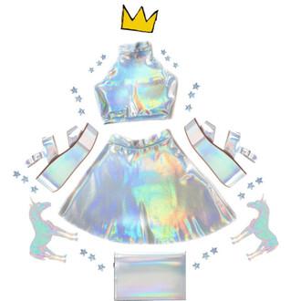 top skirt shoes bag holographic silver halter top crop tops platform shoes sandals platform sandals holographic top holographic skirt holographic bag holographic shoes outfit holographic outfit vaporwave seapunk cyberpunk cyber futuristic tumblr tumblr aesthetic aesthetic cyber ghetto