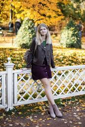 white rabbit dreams,blogger,jacket,top,skirt,shoes,fall outfits,ankle boots,leather jacket,mini skirt,button up skirt