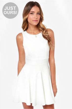 Pretty Ivory Dress - Skater Dress - $40.00
