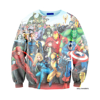 sweater marvel superman superhero iron man spider-man hulk captain america batman wolverine halloween