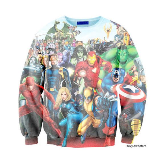 superman batman marvel sweater superhero iron man spider-man hulk captain america wolverine halloween