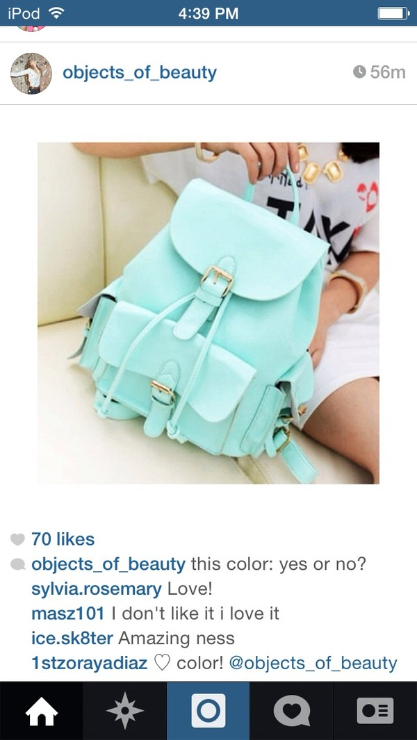 bag mint blue leather backpack