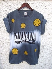 t-shirt,nirvana,band t,band t-shirt,nirvana top,vintage,hot,sexy,shirt,nevermind,band merch,nirvana nevermind,smiley,tie dye,kurt cobain,nirvana t-shirt,tie dye shirt,blue shirt