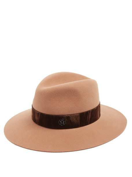 Maison Michel fur hat felt hat camel