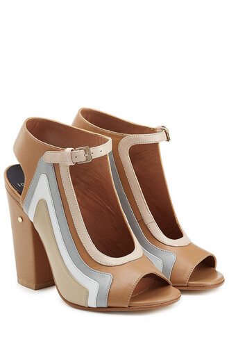 heel sandals leather beige shoes