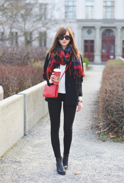 vogue haus blogger sunglasses tartan scarf winter jacket red bag sweater coat scarf jeans shoes bag jewels