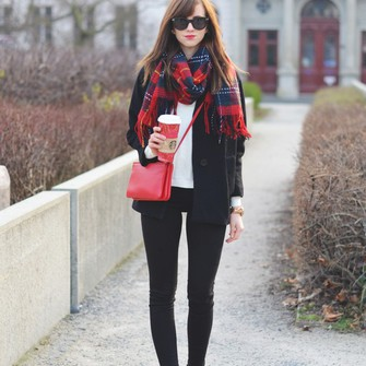 jewels scarf jeans sunglasses shoes sweater coat bag winter jacket blogger tartan bag vogue haus scarf red