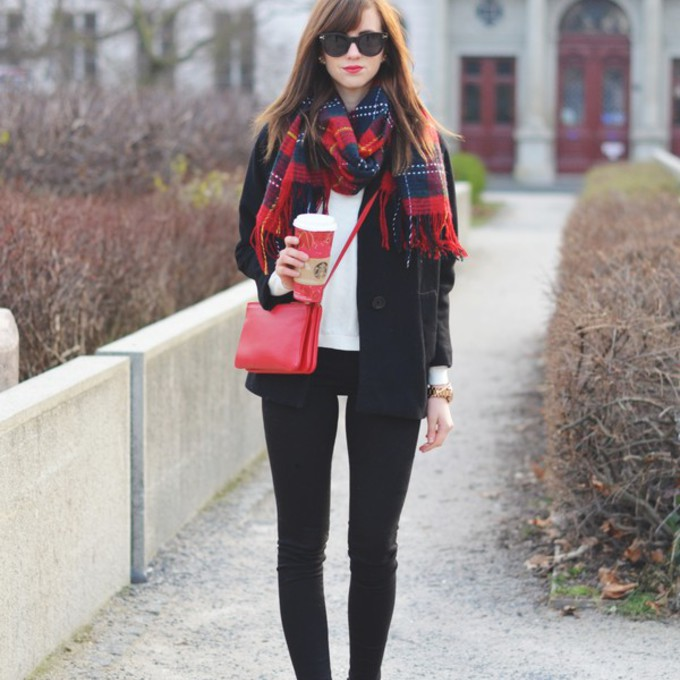 scarf jeans sunglasses shoes sweater coat bag jewels blogger tartan bag vogue haus winter jacket scarf red