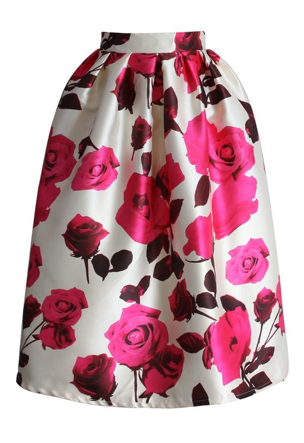 skirt chicwish glam rose print a-line midi skirt