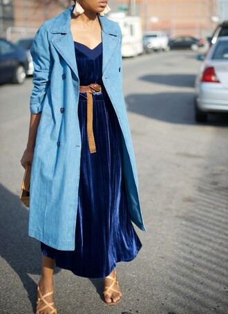dress tumblr velvet dress coat blue coat midi dress royal blue dress blue dress velvet sandals sandal heels high heel sandals belt