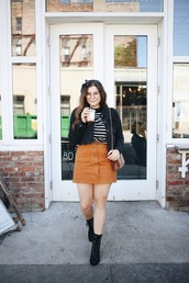 noelles favorite things,blogger,top,skirt,jacket,bag,shoes,fall outfits,ysl bag,denim jacket,striped top,button up skirt