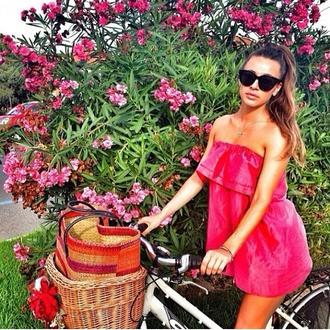 fuschia short dress mini dress pink dress pink mini dress fuschia dress top flowers nature girly ?t? robe robe courte rose neon