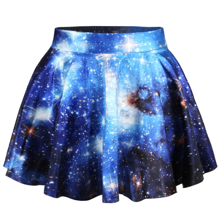 Erlking women's basic versatile galaxy stretchy flared skater skirt at amazon women's clothing store: