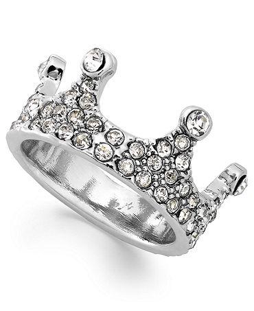 Bar III Silver-Tone Crystal Crown Midi Ring - Fashion Jewelry - Jewelry & Watches - Macy's