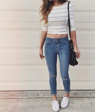t-shirt jeans shirt tumblr outfit tumblr school outfit edgy striped top