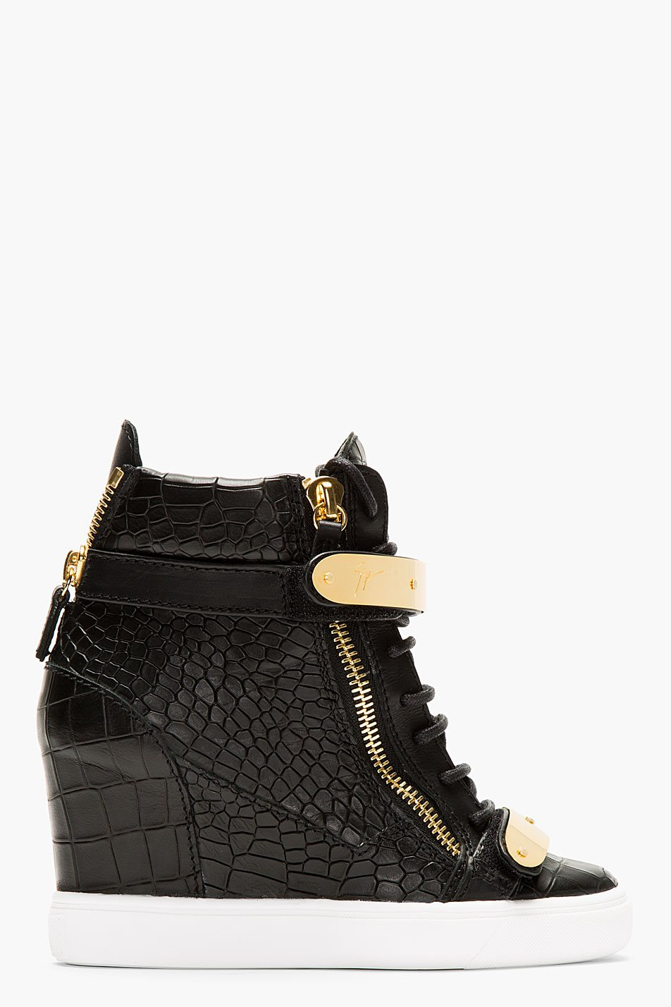 Giuseppe zanotti black croc_embossed loren z75 wedge sneakers