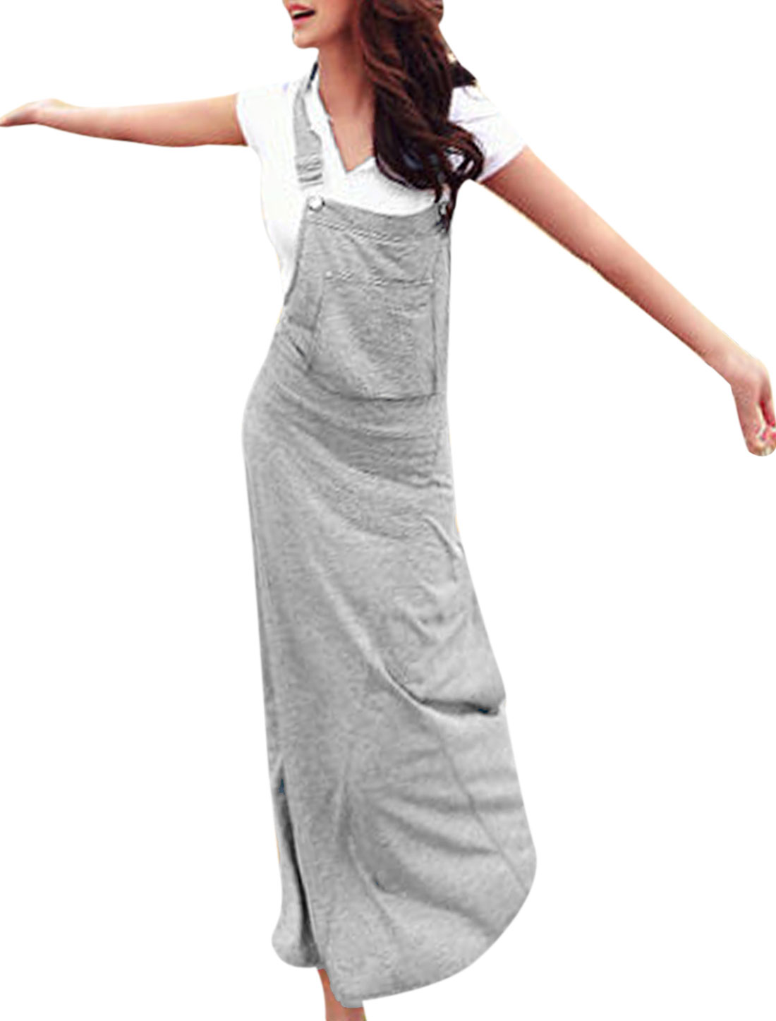 Light Grey XS Hooded Full-Length Slim Fit Style Maxi Overall Fashion Dress