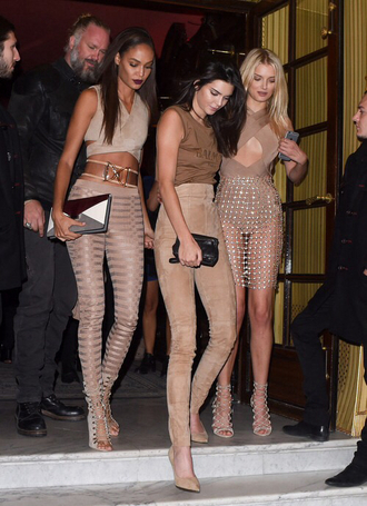 shoes balmain balmain after party outfit beige pants hells heels joan smalls lily donaldson lace up sandals all nude everything