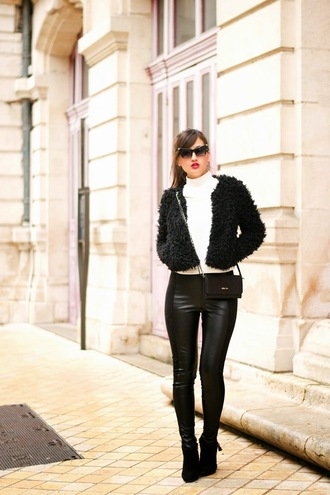 meet me in paree blogger fluffy leather leggings cat eye red lime sunday leggings sweater shoes bag sunglasses