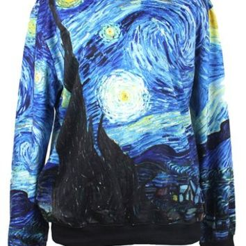 Injoy Neon Galaxy Cosmic Colorful Patterns Print Sweatshirt Sweaters on Wanelo