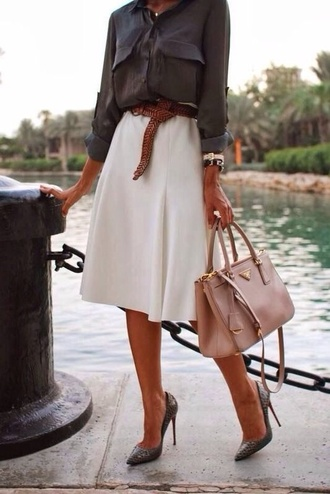 skirt blouse grey pockets button down long sleeves belt purse heels white modern watch necklace charcoal