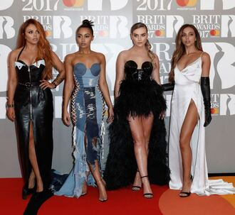 dress gown maxi dress prom dress sandals bustier bustier dress perrie edwards leigh-anne pinnock little mix brit awards red carpet dress jesy nelson jade thirlwall