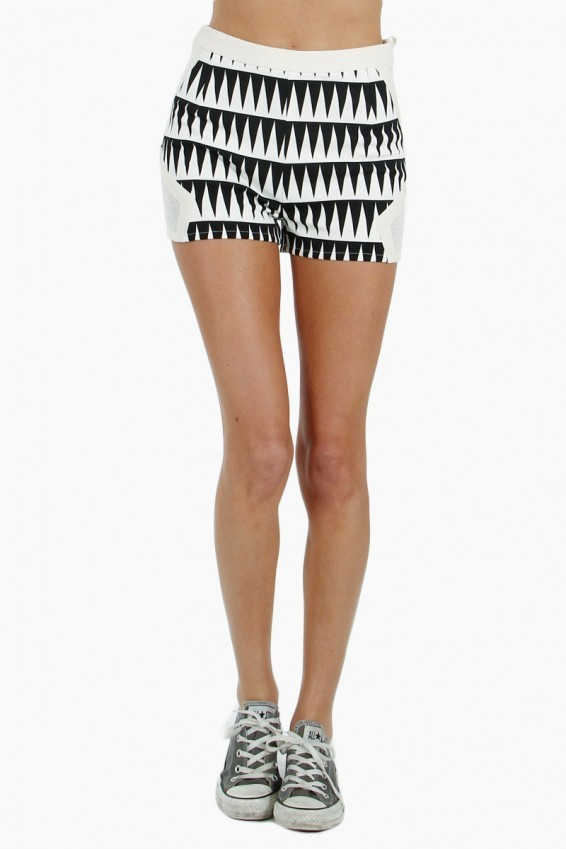 WHITE GRAPHIC SHORTS