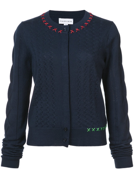 Carven cardigan cardigan cropped women blue sweater