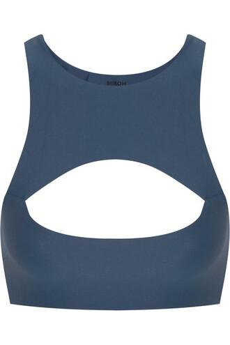 bikini bikini top cutout bikini blue swimwear