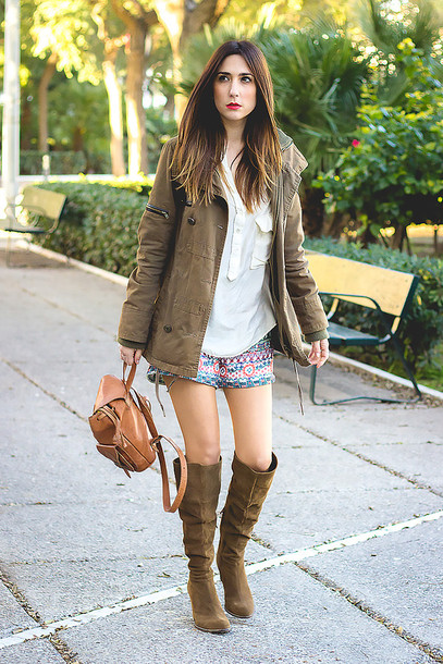 shoes and basics blogger shorts suede boots parka white blouse coat shirt shoes jewels