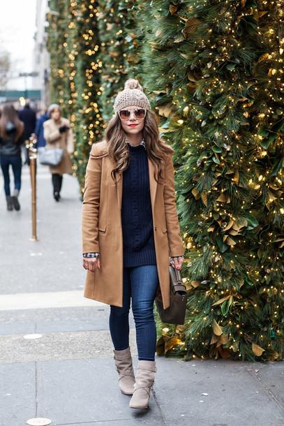 the corporate catwalk blogger sweater sunglasses camel coat pom pom beanie winter boots shirt bag shoes coat leggings hat