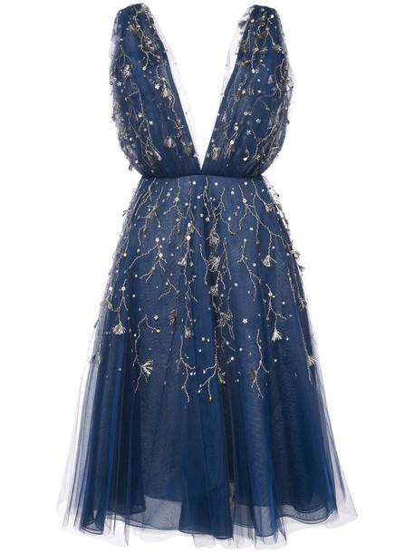 oscar de la renta dress midi dress embroidered women midi blue