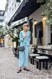 jacket,pants,suit,blazer,blue blazer,shoes,bag