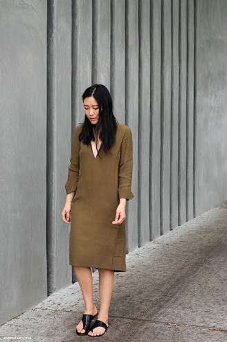 andy heart blogger dress v neck dress taupe long sleeve dress