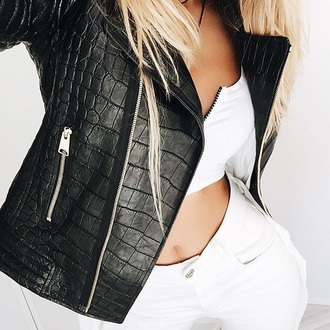 jacket leather jacket leather black snake print outerwear motorcycle