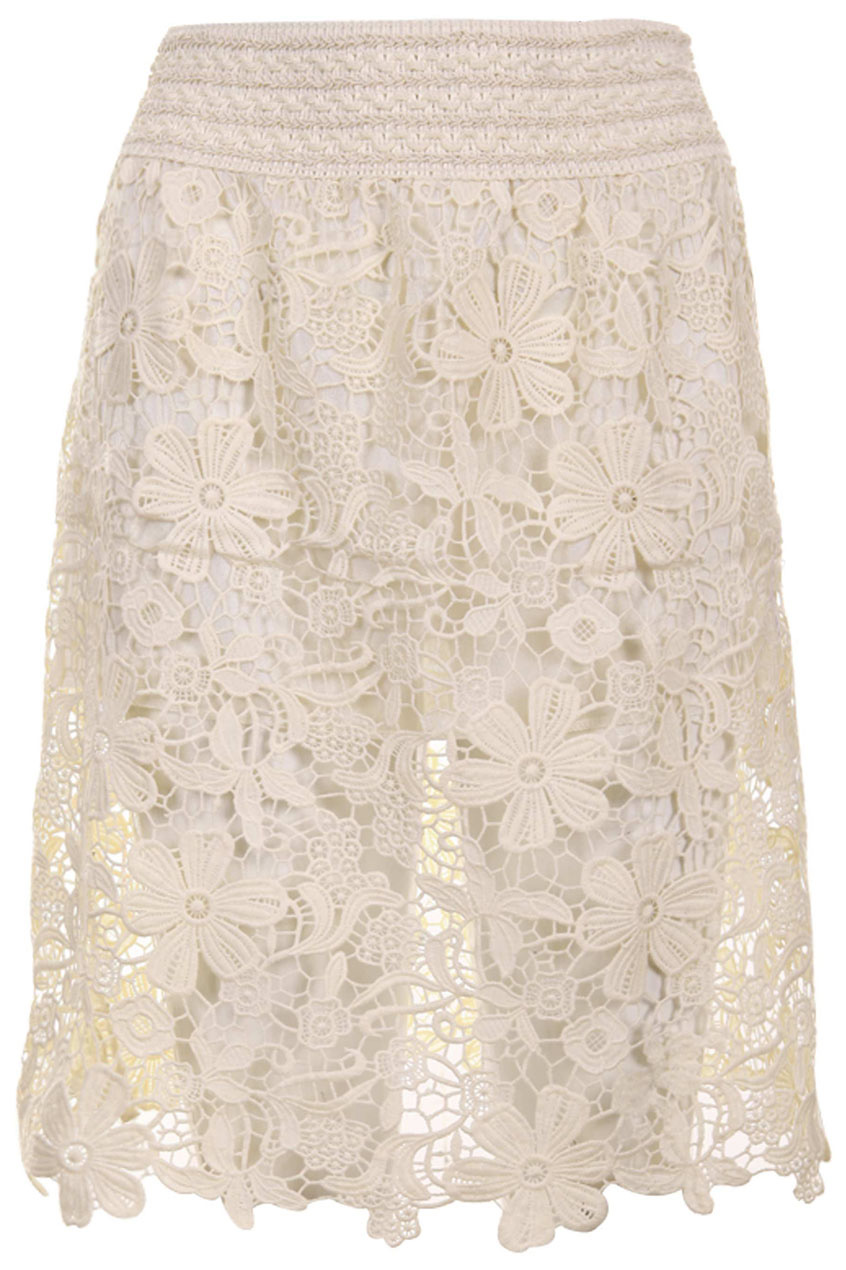 Out lace embroidered cream skirt, the latest street fashion