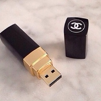 jewels usb flash drive chanel lipstick red lipstick black red gold pc coco chanel coco cc