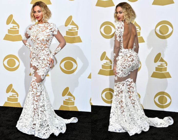 Sexy 2014 Beyonce Mermaid Open Back Long Sleeve See Through White Lace Grammy Awards Celebrity Dresses/Evening Dress H7461-in Celebrity-Inspired Dresses from Apparel & Accessories on Aliexpress.com