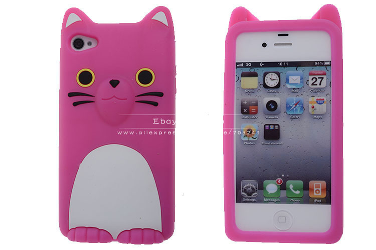 size 40 e8581 7181c Aliexpress.com : Buy 3D Hello Kitty Cat With Ear Cute Soft Silicone Rubber  Skin Back Cover Case For iPhone 5 5S 4 4S,Top Quality Phone Cases Pink from  ...