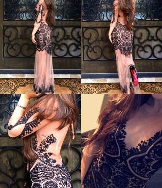 dress long black dress black nude nude dress long dress