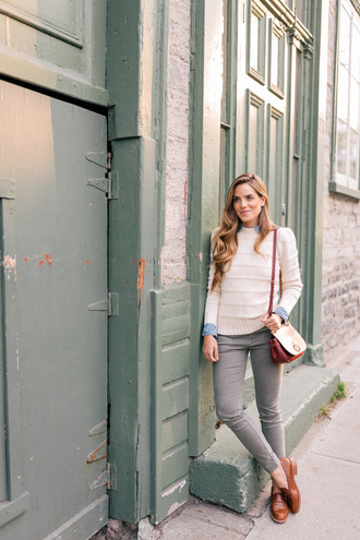 sweater white sweater brown bag tumblr denim jeans grey jeans skinny jeans shoes brown shoes bag