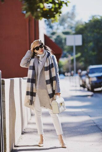 hallie daily blogger coat jeans sweater shoes bag scarf sunglasses jewels pumps beret grey coat turtleneck sweater white pants white bag winter outfits