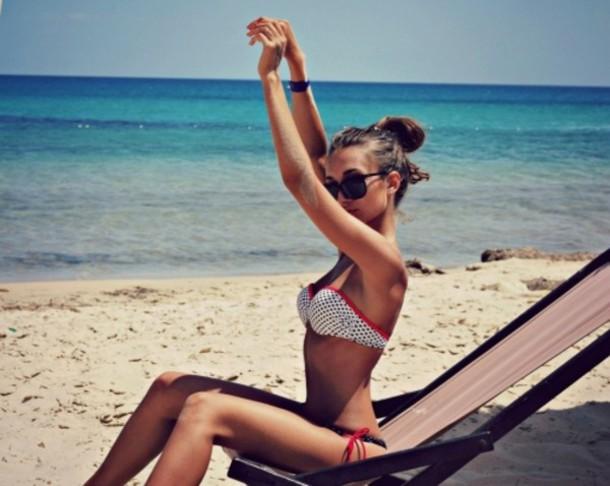 swimwear bikini polka dots