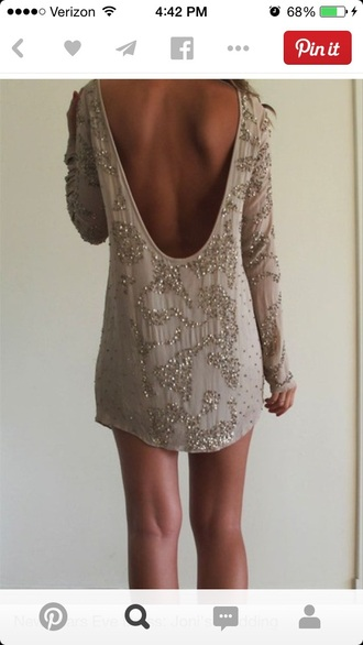 dress sparkly dress beaded dress beaded open back dress tunic dress long sleeve dress new year's eve