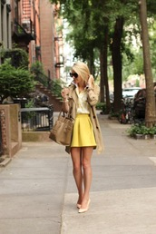 atlantic pacific,skirt,shirt,coat,bag,sunglasses,shoes,jewels,circle skirt,yellow,yellow skirt,beige,button up,fall outfits,blouse,top,trench coat,classy