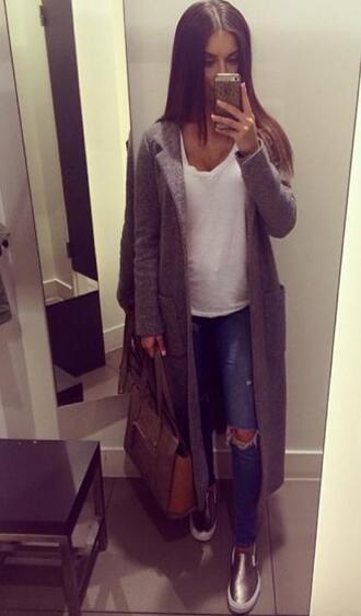 coat long grey maxi jacket hipster jeans