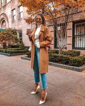 jeans,blue jeans,white heels,high heel pumps,coat,white sweater,sunglasses