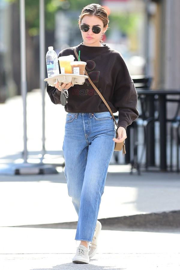 sweater sweatshirt lucy hale sneakers jeans denim sunglasses casual celebrity